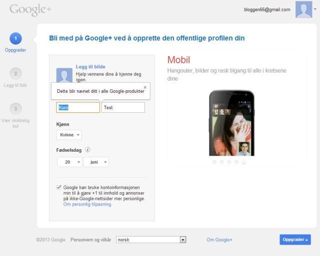 opprett google+ konto